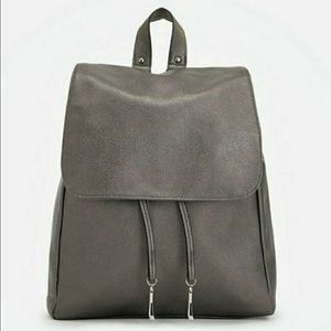 Silver Faux Leather dressy JustFab mid backpack